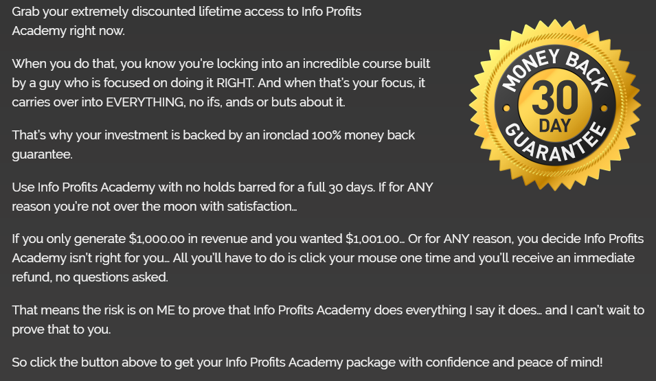 info profits academy review money back