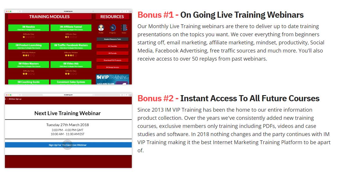 im vip training bonus